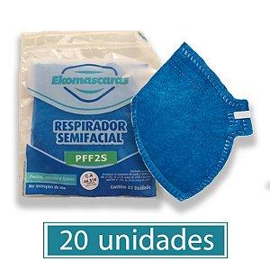 Mascara PFF2 Equivalente a N95 Descartavel Azul com 20 unidades