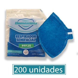 Máscara Equivalente a N95 PFF2 Descartável Azul Atacado Pacote com 200 Máscaras