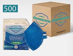 Máscara PFF2 Equivalente a N95 Azul com Inmetro Pacote com 500
