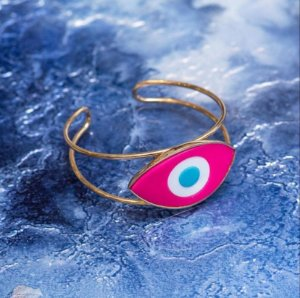 Pulseira Olho Rosa Armação Fina Dupla