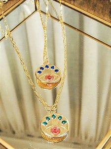 Colar Cartier Medalha Olho Grego Cílios Color