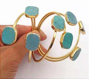 Bracelete Banho Ouro Com Pedras Verdes Trabalhadas Na Ponta