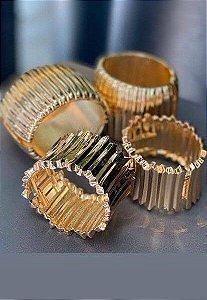 Bracelete Banho Ouro Grande Com Frisos Irreulares
