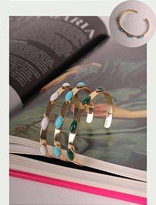 Bracelete Banho Ouro Com Navys Ovais Colors
