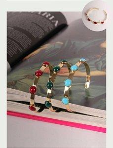 Bracelete Banho Ouro Com Navys Redondos Colors