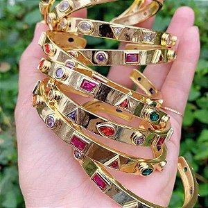 Bracelete Banho Ouro Com Zirconia Em Formato De Quadrado Bola E Gota