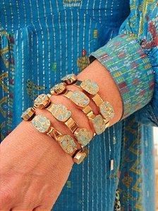 Bracelete Banho Ouro Com Cinco Pedras Turquesas Quadradas