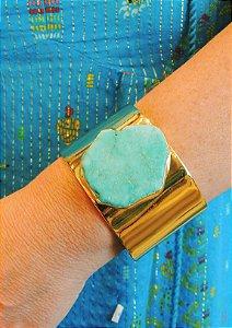Bracelete Banho Ouro Com Pedra Howlita Turquesa Irregular Grande