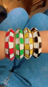 Bracelete Esmaltado Xadrez