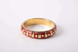Pulseira Estilo Bracelete Indiana Vermelha com Frisos Pequena