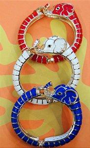 Pulseira Estilo Bracelete Elefante Esmaltado