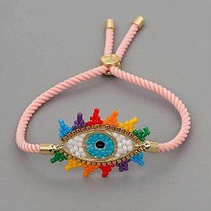 Pulseira Corda Rosa Olho Contas Colorido