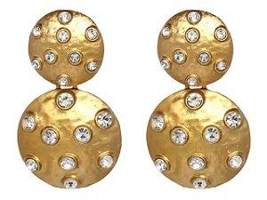 Brinco Botões Dourados Cravejado