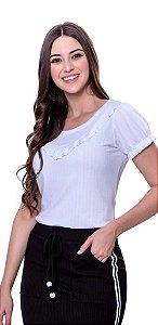 Blusa de malha canelada com mangas fofinhas e babadinho no decote cor branca