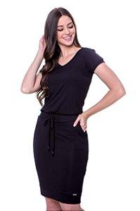Vestido de malha com recortes de ribana no cós decote e punho, botões sobrepostos nas mangas como detalhe