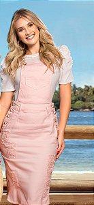 Jardineira chanel rosa 3036 com botões branco perolizado Row An