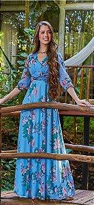 Vestido Longo Tule Floral Helanca light soft 4094