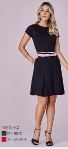 Vestido c/faixa list.viscose c/elastano 4102 cor (84) preto