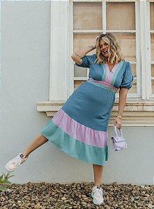 Vestido Viscose Tricolor- 20322