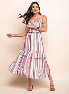 Vestido Listras Babados - 20335