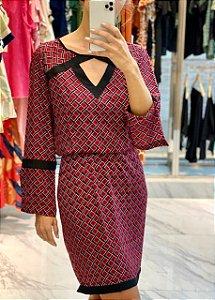 Vestido Crepe Estampado Recortes - 20242