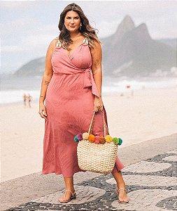 Vestido Viscose Jacquard Cordão Alça - 20291