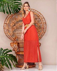 Vestido Tricot com Combinação e Cinto - 20294