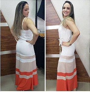 Vestido longo recortes contraste