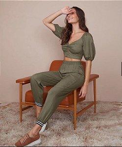 Calca tecido liso Verde