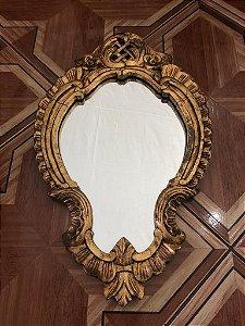 Espelho Madeira Entalhada, Ornamentado em Folha de Ouro