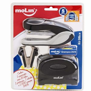 Kit Office Desk Preto c/4pcs MOLIN