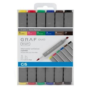Kit CIS Graf Duo Brush c/6 Cores Básicas