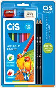 Kit Escolar Lápis de Cor Plastic CIS