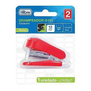 Mini Grampeador 12fls Vermelho TILIBRA