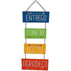 Placa Decorativa em MDF - Entrego, Confio LITOARTE