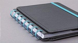 Discos + Elástico Azul Metálico M para CADERNO INTELIGENTE