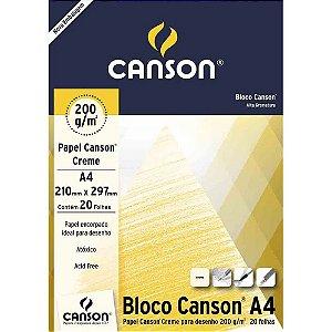 Bloco de Papel CANSON para Desenho A4 Creme 200g