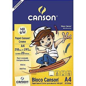 Bloco de Papel CANSON para Desenho A4 Creme 140g