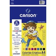 Papel Criativo CANSON Colorido A4 80g