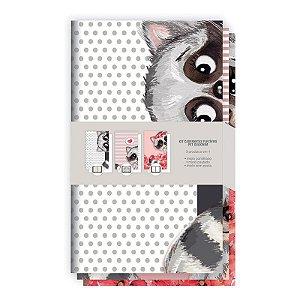 Kit com 3 Cadernetas Flexíveis REDOMA Guaxinim