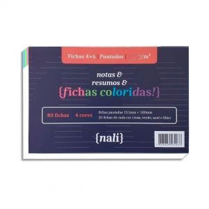 Fichas Pautadas Coloridas 4x6 150g NALÍ