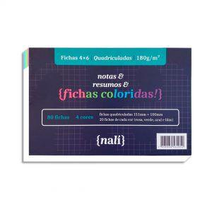 Fichas Quadriculadas Coloridas 4x6 150g NALÍ