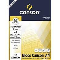 Bloco de Papel CANSON para Desenho A4 Branco 200g