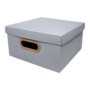 Caixa Organizadora Linho Pequena Cinza DELLO