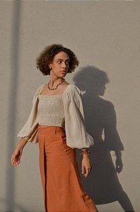 Blusa com manga bufante elastéx busto e punho