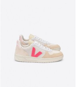 Tênis V-10 suede multico natural rose fluo