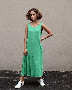 Vestido longo básico com recorte