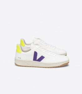 Tênis V-12 b-mesh white purple jaune-fluo