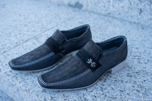 Sapato Social Sapateria - Jeans/preto