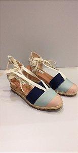Sandália De Amarração Bebece T5821667 - Bege/azul/rosa